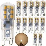 AC 220V, Peanut (1.5Watt G9LED Bulb, 15W Halogen Replacement–140G9LED, Warm White, Pack of 12)