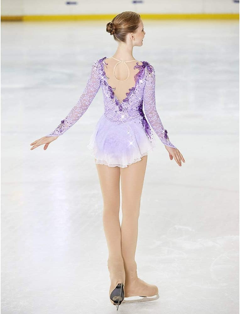Kmgjc Eiskunstlaufkleid Damen M/ädchen Eislaufkleid Violett Spandex Stretch Garn Hohe Elastizit/ät Skating Wear Handmade Strass Langarm
