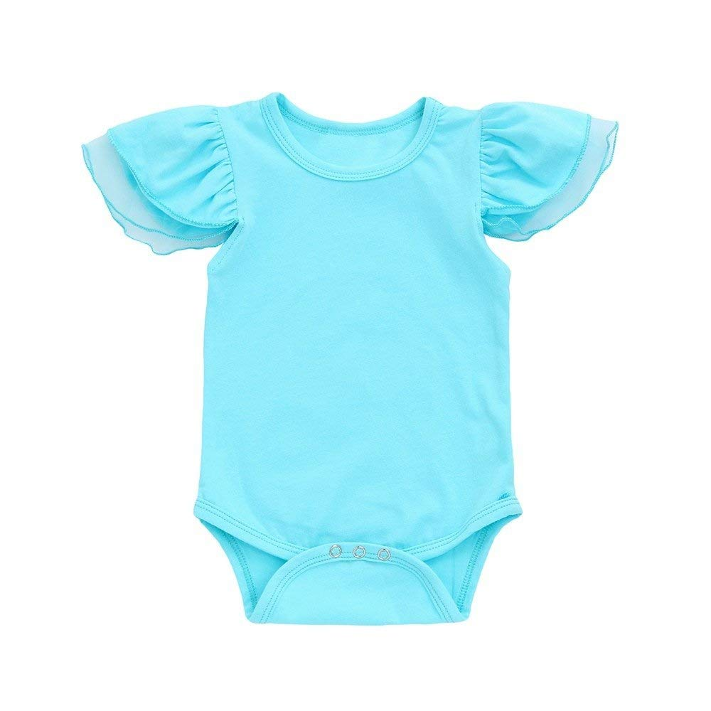 KUKEONON Infant Baby Girls Solid Color Fly Sleeve Romper Jumpsuit Outfits Clothes