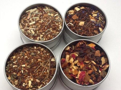 Chai Tea 4 Sampler Tin, with All the Good Flavor Tea Tin with Clear Window