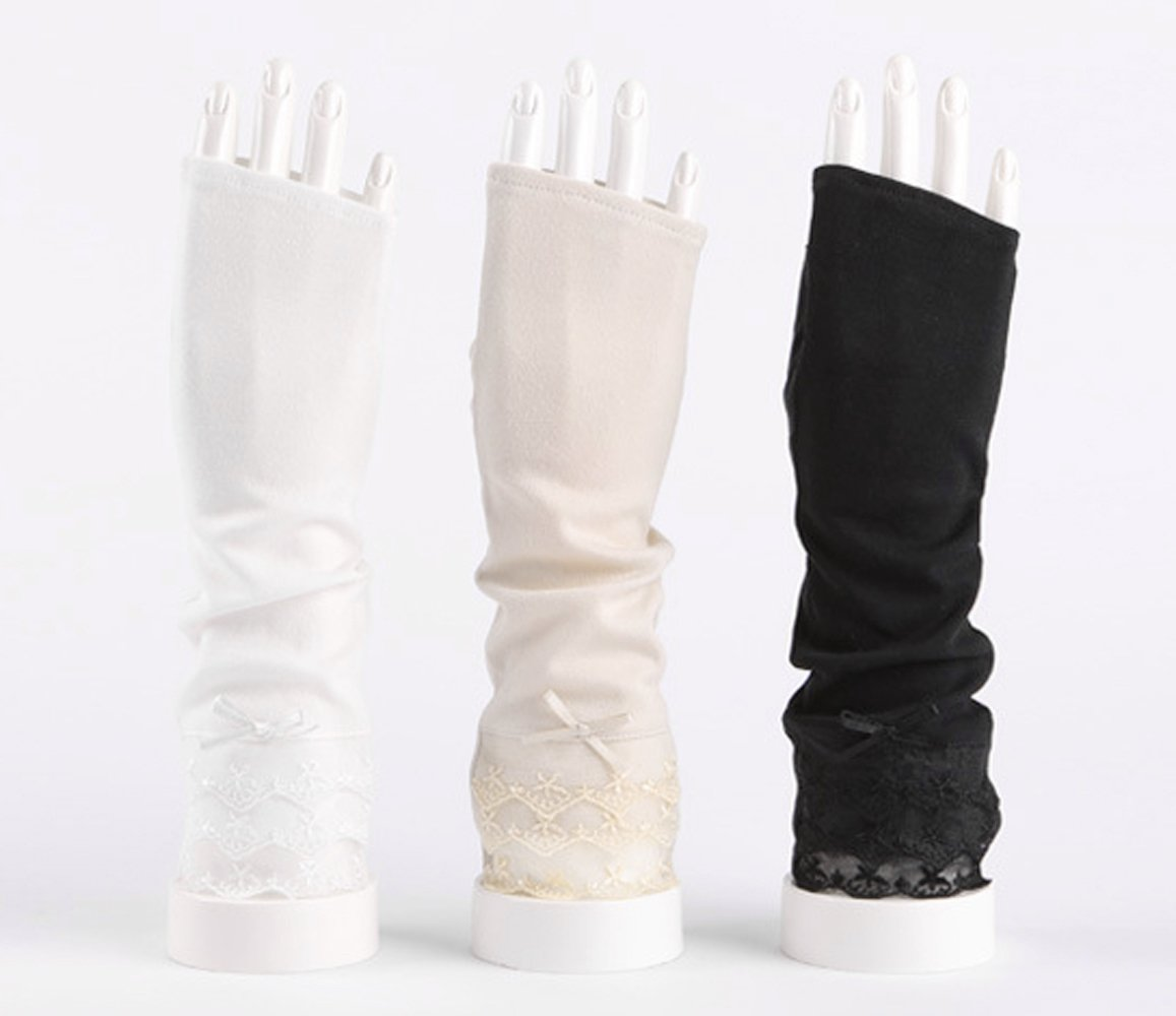 Women's Lace Bowknot Fingerless Gloves Perfect for Driving/Party/Evening with Gift Box by LAI MENG FIVE CATS (Image #5)