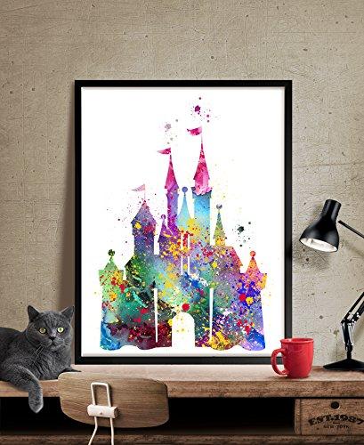 Disney Castle Watercolor Print, Disney Art Print, Disney Castle Print , Watercolor Art Painting Disney Castle Art Unframed Patent Print - Great Gift for Disney Fan (96)
