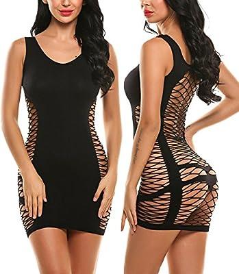 Avidlove Women's Chemise Sexy Lingerie Fishnet Babydoll Sleepwear Mesh Dress