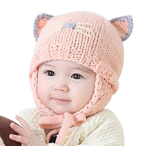 Iuhan Cat Cartoon Baby Boys Girls Earflaps Cap Kids Knitting Winter Warm Ball Hats (Pink) - Earflap Ball Cap