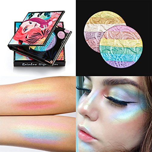 FantasyDay Pro 6 Colors 3D Baked Rainbow Highlighter Eyeshadow Makeup Palette Cosmetic Blusher Shimmer Powder Contouring Kit Unicorn Blush #2