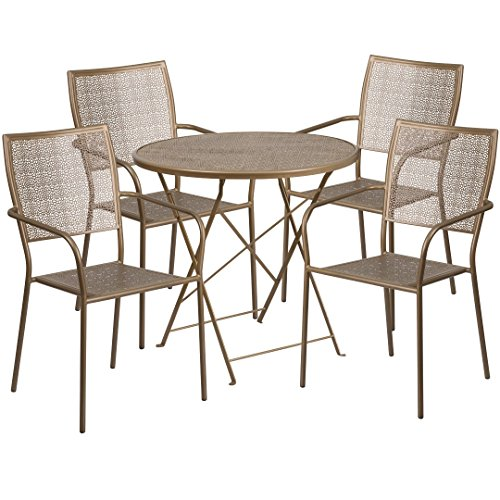 MFO 30'' Round Gold Indoor-Outdoor Steel Folding Patio Table Set with 4 Square Back Chairs