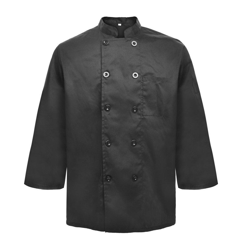 TopTie Unisex Black Long Sleeve Button Chef Coat