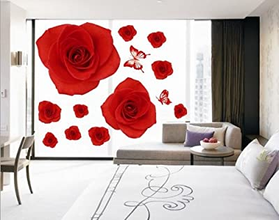 Createforlife Home Decoration Art Vinyl Mural Wall Sticker Decal Red Rose Flowers Butterfly Decal Paper