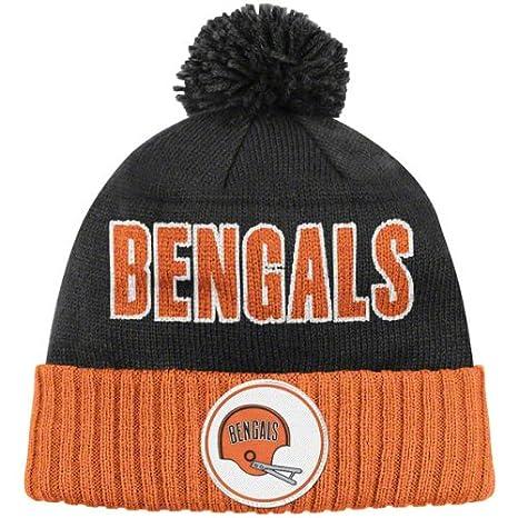 NFL Mitchell   Ness Throwback Cuffed Pom Knit Hat (Cincinnati Bengals) 8fded98c6af
