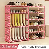 VT BigHome Multi Layer Shoe Rack Nonwovens Steel Pipe Easy to Install Home Shoe Cabinet Shelf Storage Organizer Stand Holder Space Saving