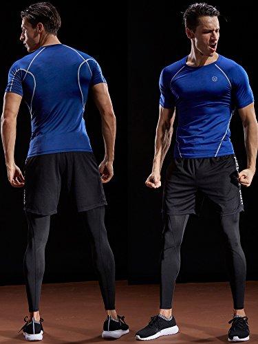 Neleus Men's 3 Pack Compression Baselayer Athletic Workout T Shirts,5022,Black,Grey,Red,S,EU M by Neleus (Image #1)