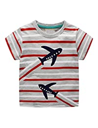 Lavany Little Baby Boys Cotton Clothes Short Sleeve Dino Print Tops Blouse for 1-7 T