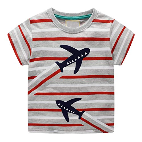 Jchen Little Kids Summer Cute Cartoon Tops, (TM) Kids Baby Boy Girl Striped Airplane Print Tops T-Shirt Tee for 1-7 Y (Age :4-5 Years, Red) -