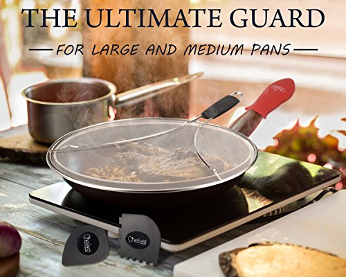 Chefast Splatter Screen Set: 13-Inch Stainless Steel Grease Splatter Guard, Cooking and Grill Pan Scrapers, and Silicone Hot Handle Holder - Elite Oil Splash Shield for Frying Pans, Pots, and Skillets by Chefast (Image #2)