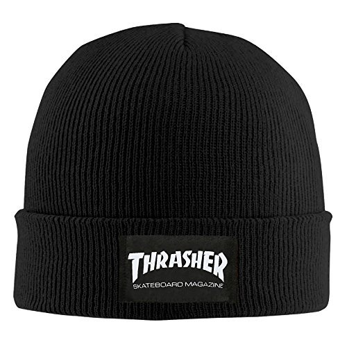 Print Winter Beanie - Thrasher Skateboard Magazine Logo Print Men Beanie Ski Hat Funny Collectible Winter Wool Hats
