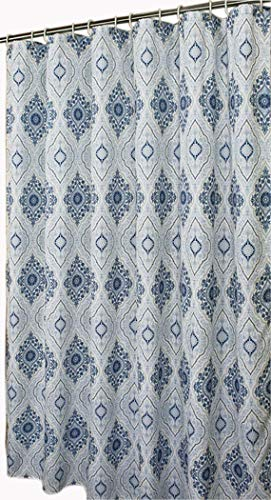 Stall Shower Curtain for Bathroom Water Repellent Fabric Mildew Resistant Washable Cloth (Hotel Quality, Eco Friendly, Heavy Weight Hem) with White Plastic Hooks (54 x 78, Blue White Paisley)