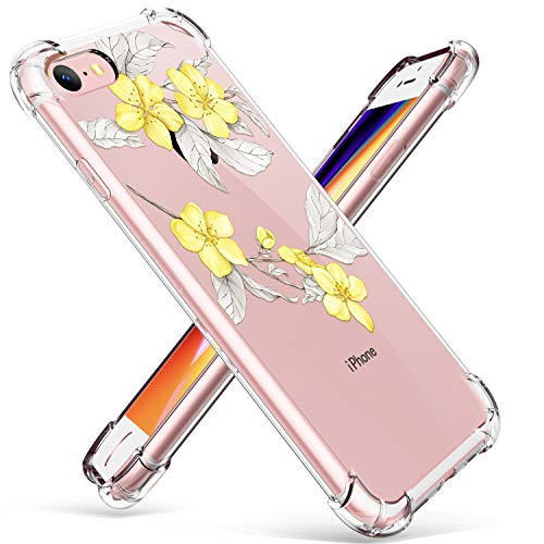 GVIEWIN Clear Flower Designed for iPhone 8 Case/iPhone 7 Case, Soft TPU Silicone Ultra-Thin Slim Fit Transparent Flowers Flexible Cover Non-Slip Perfect Grip for iPhone 7, iPhone 8 (Yellow Flower)