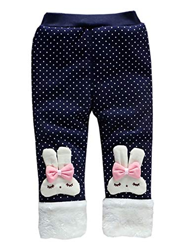 Lined Pants Trousers - Baby Girl Winter Warm Pants Plus Thick Velvet Rabbit Polka Dot Pants Trousers Leggings Size 2-3 Years/Tag110 (Blue)
