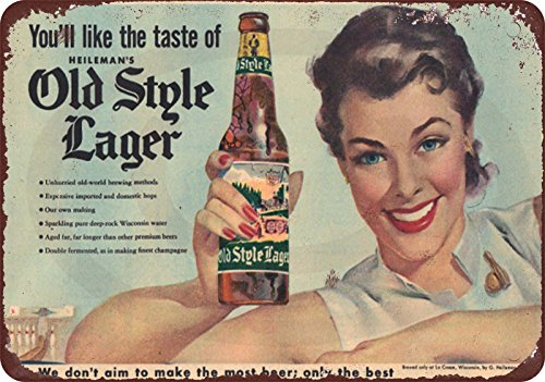 - Custom Kraze 1950's Heineman's beer old style lager vintage reproduction metal sign 8 x 12