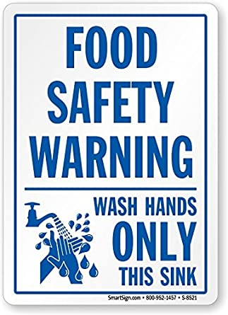 Food safety warning wash hands only this sink adhesive - Plaque adhesive cuisine ...