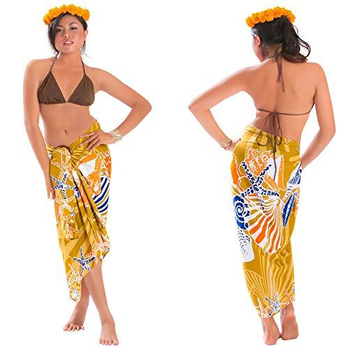 1 World Sarongs Sarong Kit w/Booklet; Seashell Fringeless Sarong in BRN Brown