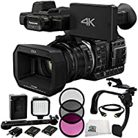Panasonic HC-X1000 4K-60p/50p Camcorder with High-Powered 20x Optical Zoom and Professional Functions (Black) + 3 Piece Filter Kit (UV+CPL+FLD) + 36 PIN LED Video Light + 5 Foot HDMI Cable