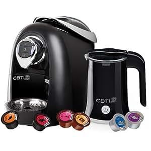 CBTL Kaldi 9910 Single-Cup Brewer with Espresso, Coffee, Tea and Milk Frother Bundle, Black