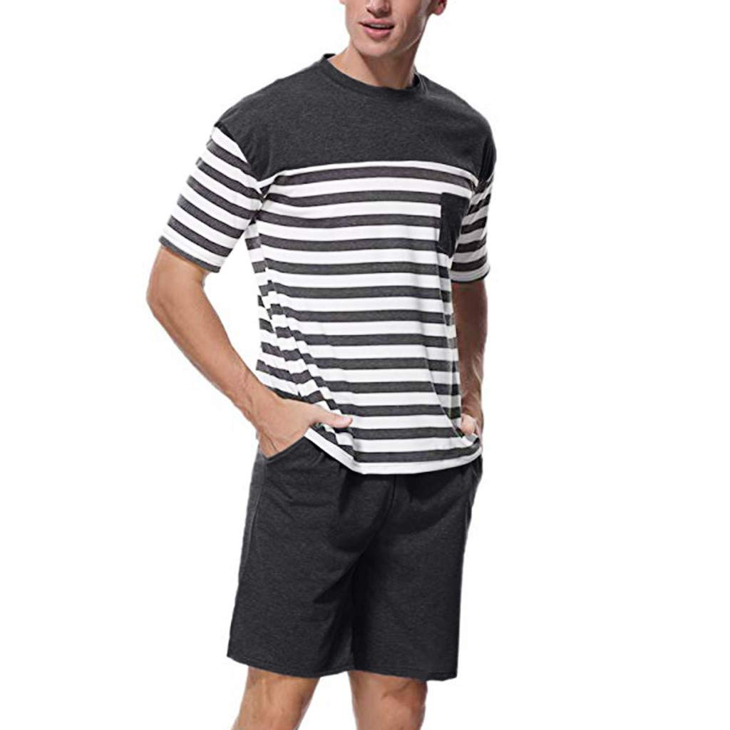 HimTak Fashion T-Shirt For Men's Stitching Striped Pocket Solid Color Pants Short Sleeve Shorts Pajamas Casual Set