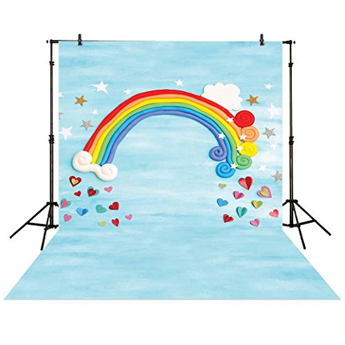 Funnytree 5x7ft Photography Backdrop Rainbow Star Love Heart