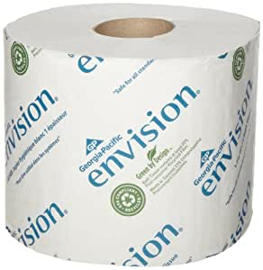 "Georgia-Pacific Envision 14448/01 White 1-Ply High Capacity Standard Bathroom Tissue, (WxL) 3.950"" x 4.050"" (Case of 48 Rolls, 1,500 Sheets per Roll)"