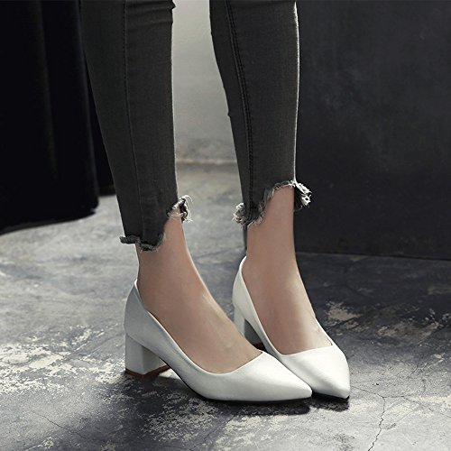 HAIZHEN Ladies Girls Booties Women's Shoes PU Spring Autumn Comfort Flats Low Heel Chunky Heel Round Toe With For Casual White Black Yellow 5.5cm For 18-40 Years Old White xRBLCBA
