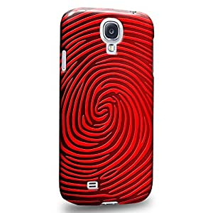 Case88 Premium Designs Art Strong Red Finger Print Maze Carcasa/Funda dura para el Samsung Galaxy S4