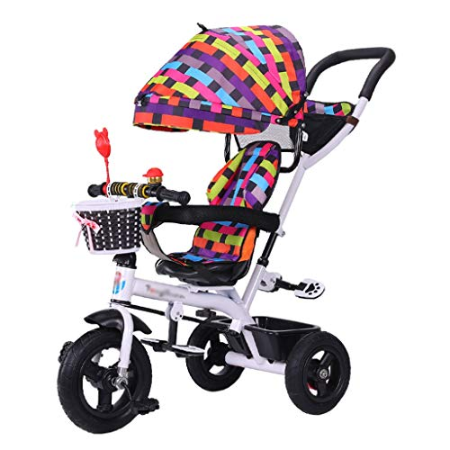 (4-in-1 Children's Stroller Trike Bike Push and Ride Baby Trolley with Brakes and Demountable Awning Folding Kids' Tricycle for 6 Months - 6 Years Old)