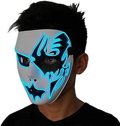 GUNAI Set di Cosplay LED LED Maschera di Halloween e Cappello da Jazz Lampeggiante,per Halloween Cosplay Feste del Partito Costumi