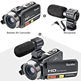 Camcorders, Besteker FHD 1080P IR 24MP 16X Digital Zoom with External Microphone and Touch Screen Video  Camera Camcorder