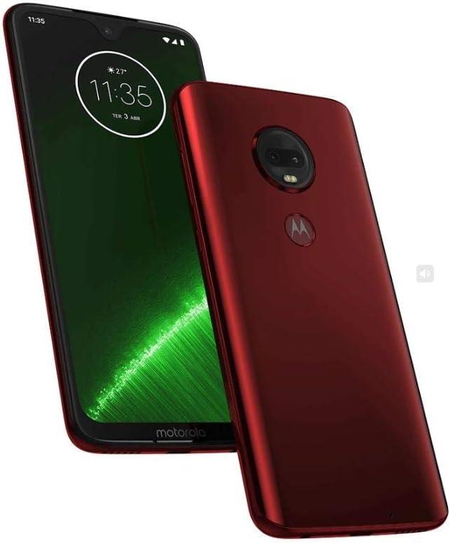 "Motorola Moto G7+ Plus (64GB, 4GB RAM) Dual SIM 6.2"" 4G LTE (GSM Only) Factory Unlocked Smartphone International Model, No Warranty XT1965-2 (Red)"