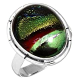 Solid 925 Sterling Silver Handcrafted Jewelry Dichroic Glass Gemstone Ring Size 8