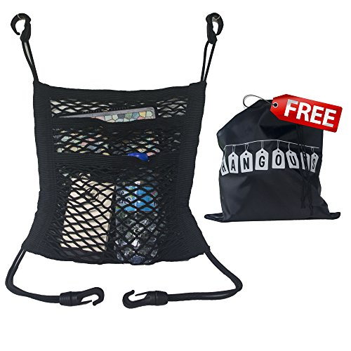 Hang Outs Premium 3-layer Mesh 2 Pocket Storage, Driver Storage Netting Pouch Seat back net bag, backseat barrier for pets & kids, cargo tissue purse holder, Purses Net