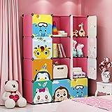 MAGINELS Kids' Toy Storage Cube Organizer for Children Bookcase Cabinet Pink Cartoon 12 Cube