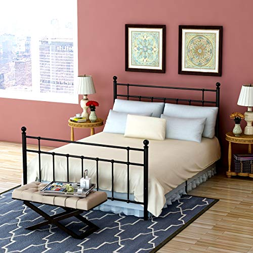 Metal Bed Platform Full Frame with Steel Headboard and Footboard Mattress Foundation Bedroom Furniture Box Spring Replacement for Kids Adults Black ()