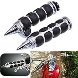 """KaTur Pair 1"""" 25mm Motorcycle Chrome Black Sharp Handle Bar Hand Grips for Harley Honda Shadow VT VTX1300 1800 Yamaha Suzuki Kawasaki"""