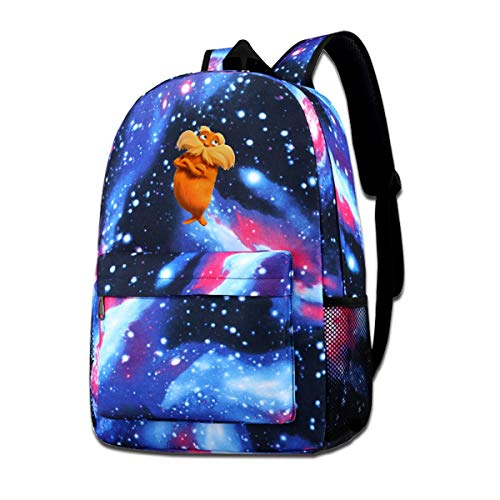 Dr. Seuss The Lorax Logo Unisex Galaxy School Backpack Laptop Bag Sports Traveling Daypack Blue