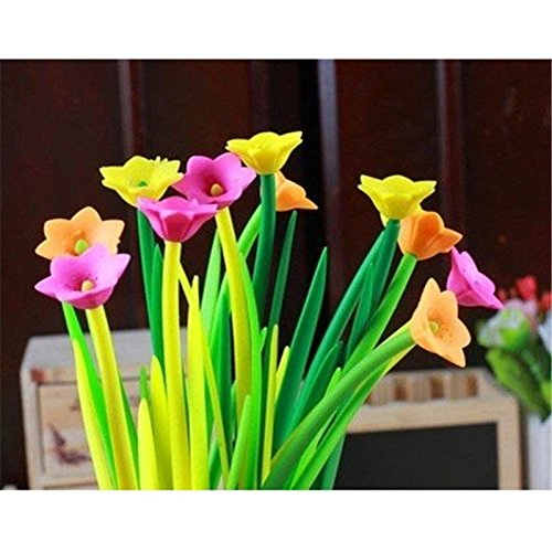 low-cost MAZIMARK-12 Pcs Silicone Cute 3D Flower Gel Pen Student ...