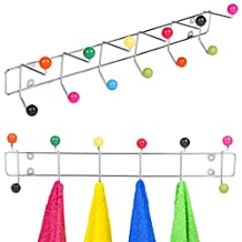 EG Homeware 12 Hook Chrome Clothes Over Door Coat Storage Rack Multi Coloured Hooks Balls