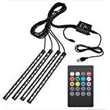 4 pcs Car LED Strip Lights, Keenso Multi-color Music Strip Lights 48 LEDs Car Interior Lights Waterproof Sound Active Lighting Strips Under Dash Lighting Kit with Wireless Remote Control, USB DC 5/12