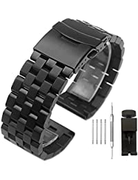 22mm Solid Stainless Steel Watch Band with Double Buckles Push Button Deployment Clasp 5 Rows Metal Watch Strap for Men Women Black