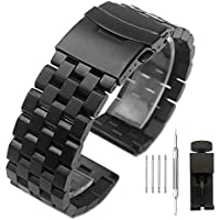 Solid Stainless Steel Watch Band Bracelet Watch Strap 24mm with Double Locking Clasp for Men Women Black