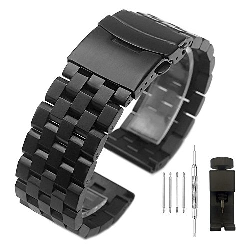 Stainless Steel Watch Band with Double Buckles Deployment Clasp 5 Rows Metal Watch Strap Bracelet for Men Women 20mm Black (Watch Bracelet Large)