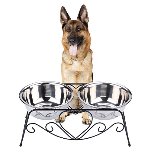 CICO Pet Feeder for Dog Cat, Stainless Steel Food and Water Bowls with Iron Stand (Dog Bowls Elevated For Large Dogs)