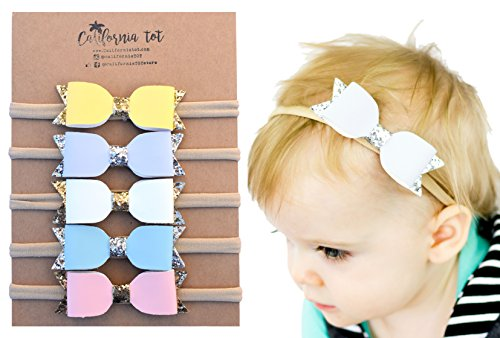 California Newborn Tote (California Tot Glitter Faux Leather Bow-Stretch Headbands for Baby Infant Toddler Kids, Set of 5)